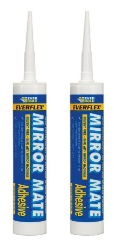 EVERBUILD MIRROR MATE SEALANT ADHESIVE 310ML GLUE BOND C3 SOLVENT FREE 2 pack